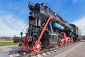 Old steam locomotive with the red star — Stock Photo