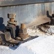 Stock Photo: Mounting rails to sleepers