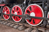 Old steam locomotive wheels — Stock Photo