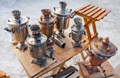 Old Russian traditional objects for tea ceremony, samovars. — Stock Photo