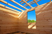 Construction of a new wooden house — Foto de Stock