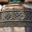 Fragment of old orthodox copper church bell — Stock Photo