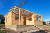 Construction of a new wooden house. — Stock Photo