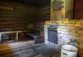 Brick oven in a Russian wooden bath — Stock Photo