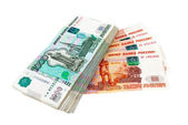 Russian rubles bills isolated on white background — Stock Photo
