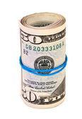 Roll of US dollar wrapped by rubber over white background — ストック写真
