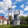 Transformer substation of high voltage on the railway station in — Stock Photo