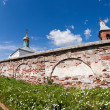 Christian orthodox monastery in Novgorod region, Russia. Fisheye — Stock Photo