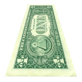 One dollar bill at an angle — Stock Photo