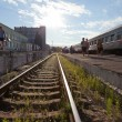 Stock Photo: View of railway station in Russiin summer day