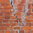 Stock Photo: Old weathered red brick wall as background