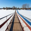 Stock Photo: Suspension foot bridge over frozen river