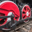 Old steam locomotive wheel and rods details — Stock Photo