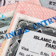 Pakistani Visa entry and exit stamps in passport — Photo