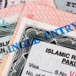 Pakistani Visa entry and exit stamps in passport — Stockfoto