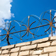 Barbed wire on blue sky background — Stock Photo #30691615