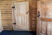 Wooden doors in russian house — Stock Photo