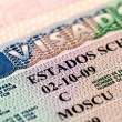 Fragment of Schengen visa in the passport — Stock Photo