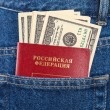 Russian passport and dollar bills in the back jeans pocket — Stock Photo