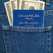 Afghanistan passport and dollar bills in the back jeans pocket — Stock Photo