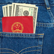 Chinese passport and dollar bills in back jeans pocket — Stock Photo #31734105
