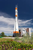 "Real ""Soyuz"" type rocket as monument — Stock Photo"
