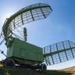 Military russian radar station against blue sky — Stock Photo