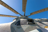 Propeller of helicopter against blue sky — Stock Photo