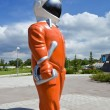 "Stock Photo: SAMARA, RUSSI- JUNE 14: Sculpture ""Cosmonaut"" next to muse"