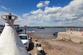 SAMARA, RUSSIA - MAY 26: Ferry across Volga river in summertime — Stock Photo