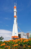 "SAMARA, RUSSIA - JUNE 14: Real ""Soyuz"" type rocket as monument o — Stock Photo"