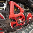 Old steam locomotive engine wheel and rods details — Stock Photo #33454549
