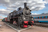 SAMARA, RUSSIA - OCTOBER 13: Old steam locomotive in railway mus — Stock Photo