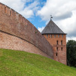 One of the towers Novgorod Kremlin with a fragment of a wall — Stock Photo