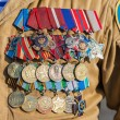 Different awards and medals on the russian military uniform — Stock Photo