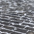 Grey paving stones of the Red square in Moscow in winter time as — Stock Photo