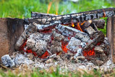 Closeup of warm fire burning in a campfire — Stock Photo