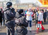 RUSSIA, SAMARA - March 2, 2014: Police patrol at the Shrovetide  — Zdjęcie stockowe