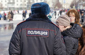 RUSSIA, SAMARA - March 2, 2014: Police patrol at the Shrovetide  — Stock Photo