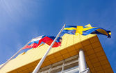 SAMARA, RUSSIA - MARCH 9, 2014: Flags of Russia and Sweden near  — Stock Photo