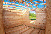 Construction of a new wooden house — Stock Photo