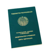 Uzbekistan birth certificate isolated on the white background — Stock Photo