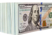 Pile of One Hundred Dollar Bills Isolated on White Background — Stock Photo