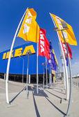 SAMARA, RUSSIA - APRIL 19, 2014: IKEA flags against sky at the I — Stock Photo