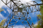 Upward view of the structure under power transmission tower — ストック写真