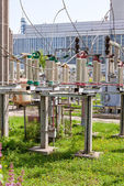 High voltage electrical substation in spring sunny day — Foto de Stock