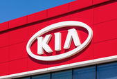 SAMARA, RUSSIA - MAY 24, 2014: The emblem KIA motors on the offi — Stock Photo