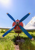 Old russian turboprop aircraft at the abandoned aerodrome — Stockfoto