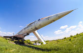Tupolev Tu-144 plane was the first commercial supersonic transport aircraft — Stock Photo