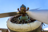 Engine propeller aircraft and four lobes closeup — Foto Stock